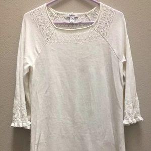 Style & co. Sweater Dress Shift White Lace Size M